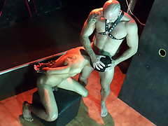 Hunky twunk marionette gives head to a mature S/m stud